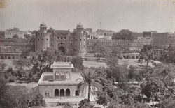 The Fort, Lahore, with the marble Baraduree in the Royal gardens.